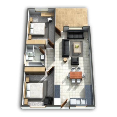Plan tv-a House 2 Bed