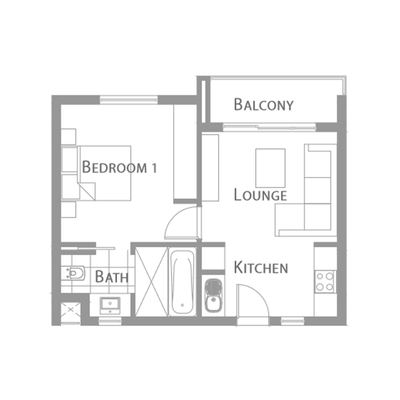 B - 1 Bedroom Unit