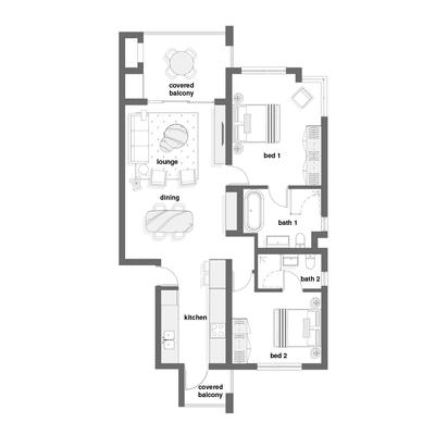 2 bed corner unit with optional loft