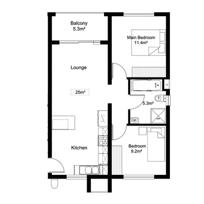 2Bed1Bath - Alt 2