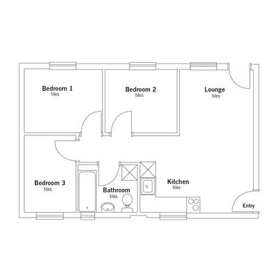 Apartment 3 bed 1 bath