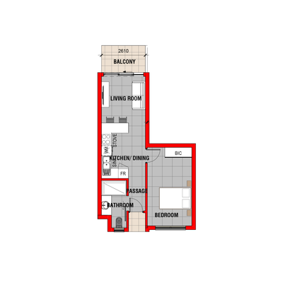 1 Bedroom Unit B