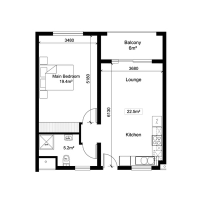 1Bed1Bath - Alt 1