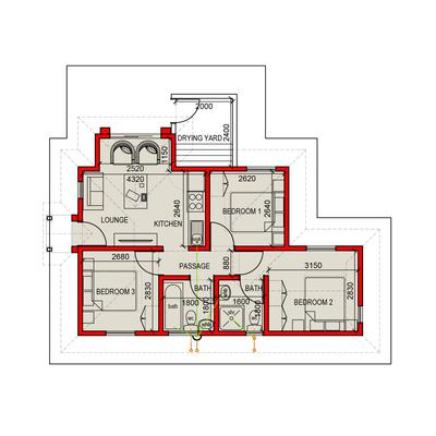 55sqm Standard Unit (3 Bed)