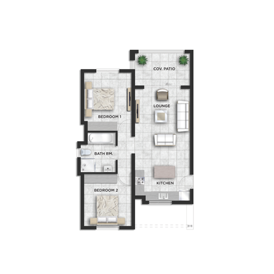 72sqm 2 Bed 1 Bath - Type A&B&B1