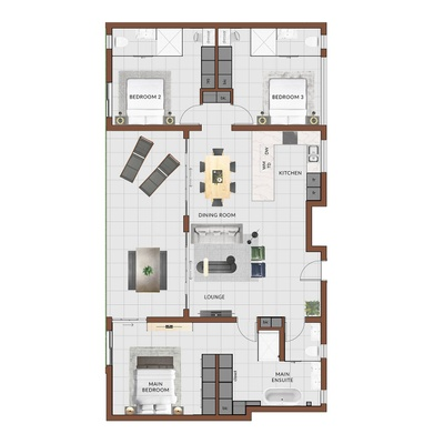 3 Bed (smallest and largest options displayed)