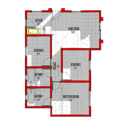65sqm 3Bed 2Bath Unit