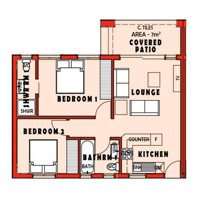 First Floor - 2 Bed / 2 Bath