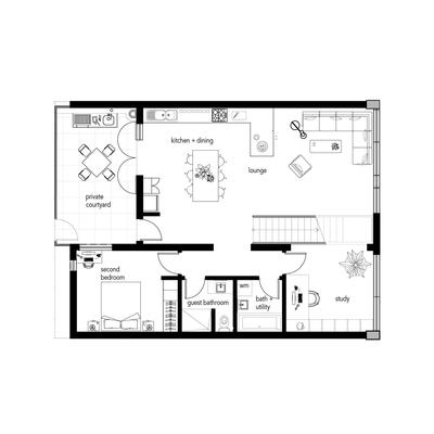 2 Bedroom & Study / 3rd Bedroom Unit