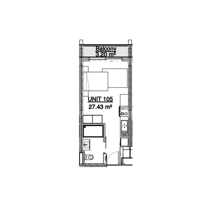 27sqm Studio unit example