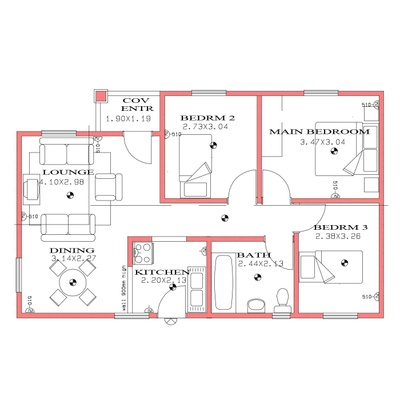 70sqm 3Bed