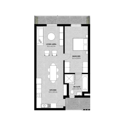 1 Bedroom  End