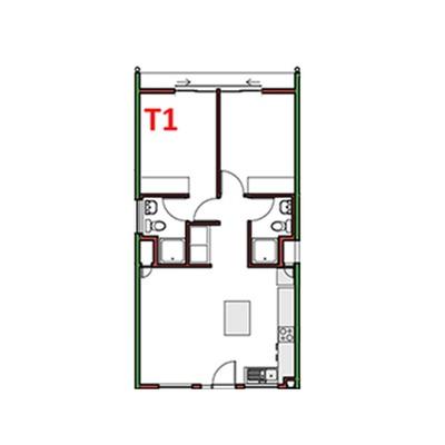 2 Bed 2 Bath - T1