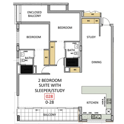 2 Bedroom Suite w/ Sleeper Study