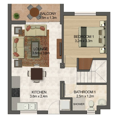2 Bed 2 Bath with loft