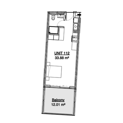 33sqm Studio unit example