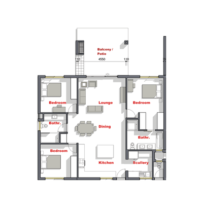 3 Bed unit - South