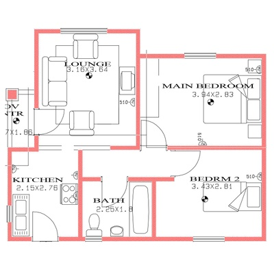 52sqm 2bed