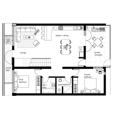 2/3 Bed - 135sqm Unit (with deck)