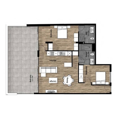 2 Bed Corner Unit with Balcony