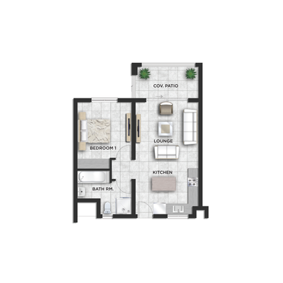 54sqm 1 Bed 1 Bath - Type A&C