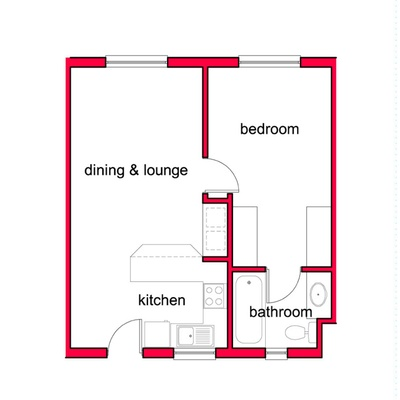 1 Bed 1 Bath Unit