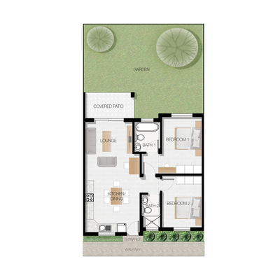 A / Simplex and ground floor Apartment layout