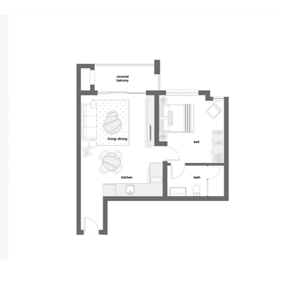 1 Bed Type A + B