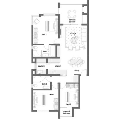 3 Bed corner unit