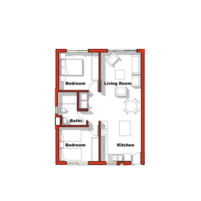 2 Bed 1 Bath  68sqm