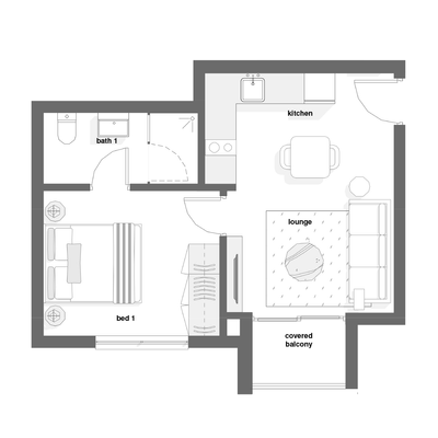 1 Bed Type E + F