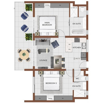2 Bed (smallest and largest options displayed)