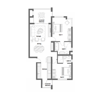 2 Bed Type C + D with optional loft