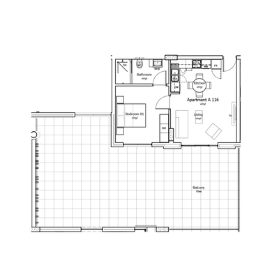 129sqm 1Bed Unit