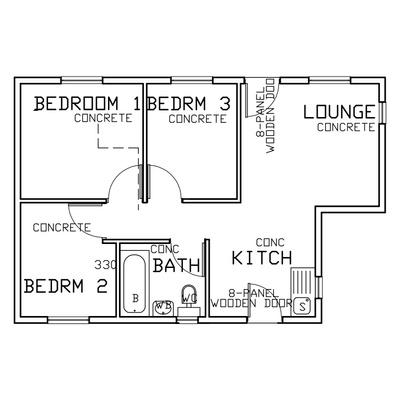 50sqm (3 Bed 1 Bath)