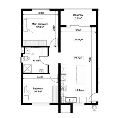2Bed1Bath - Alt 1