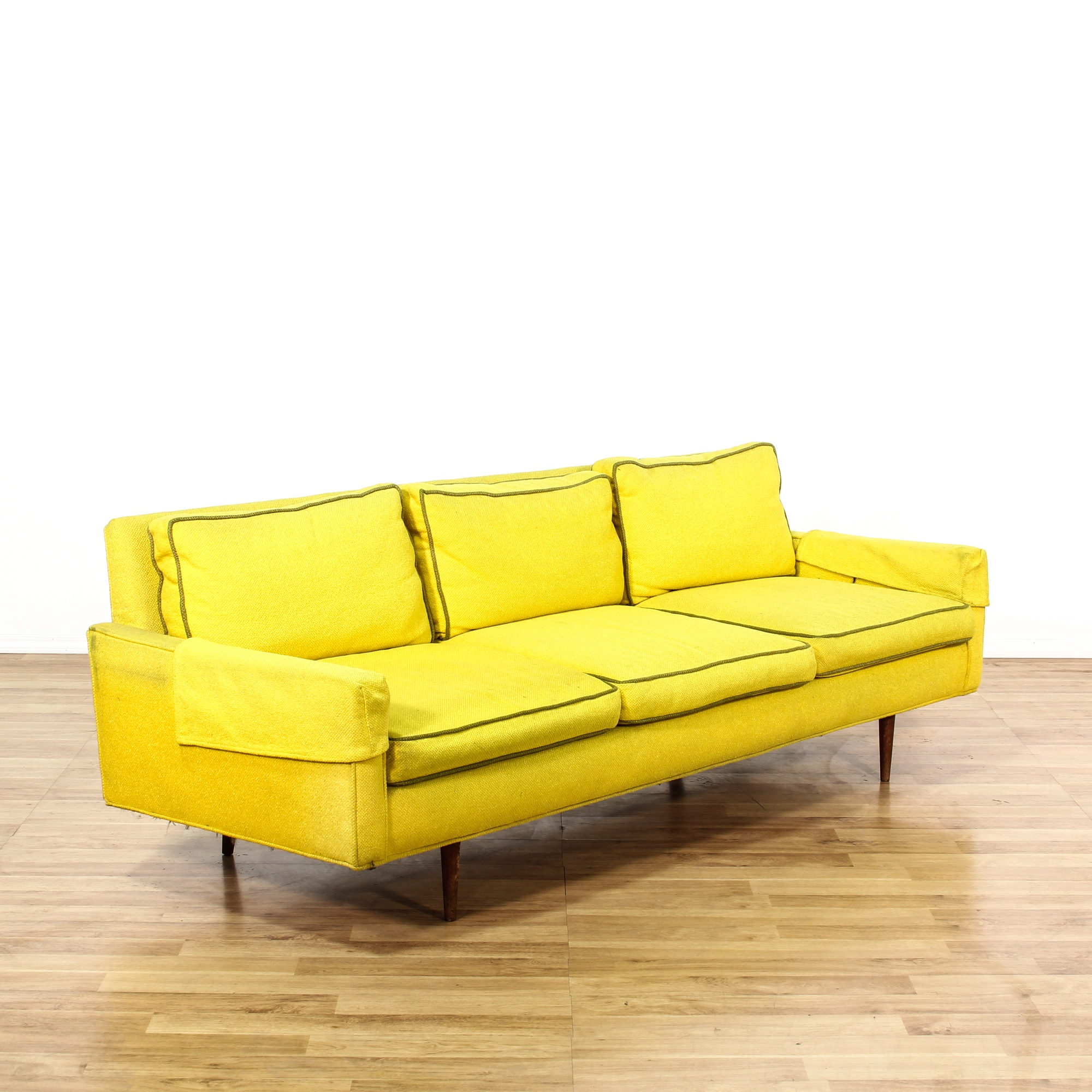 bright yellow mid century modern sofa loveseat vintage furniture san diego los angeles. Black Bedroom Furniture Sets. Home Design Ideas