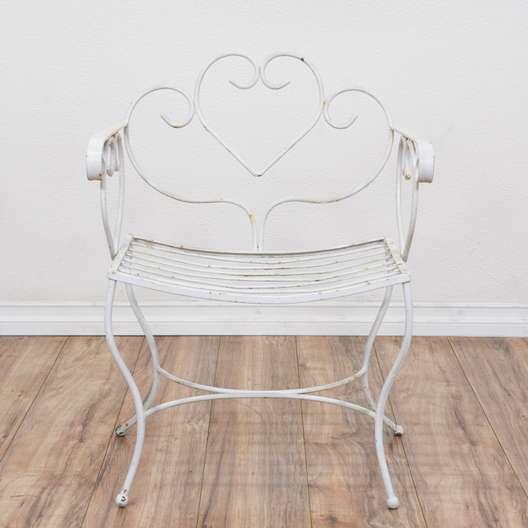 Wrought Iron White Heart Patio Chair