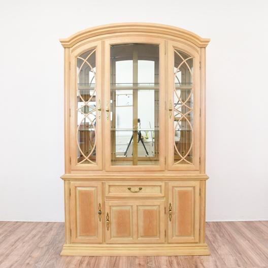 Light Blonde Wood China Cabinet Display Case