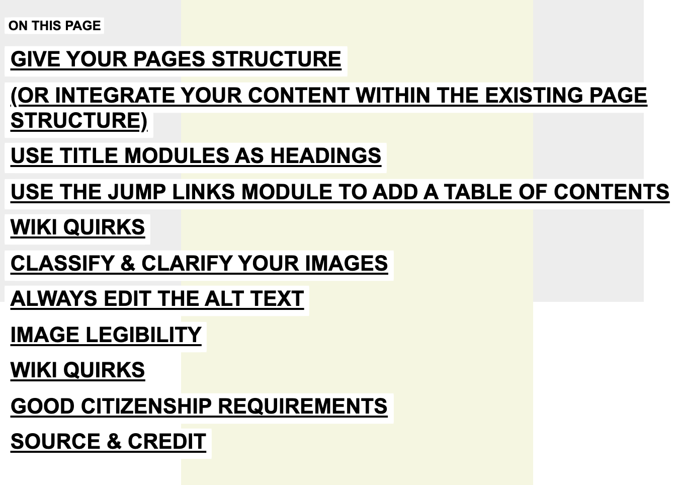Screenshot of all headings on this page listed in a very long Jump Links Module.