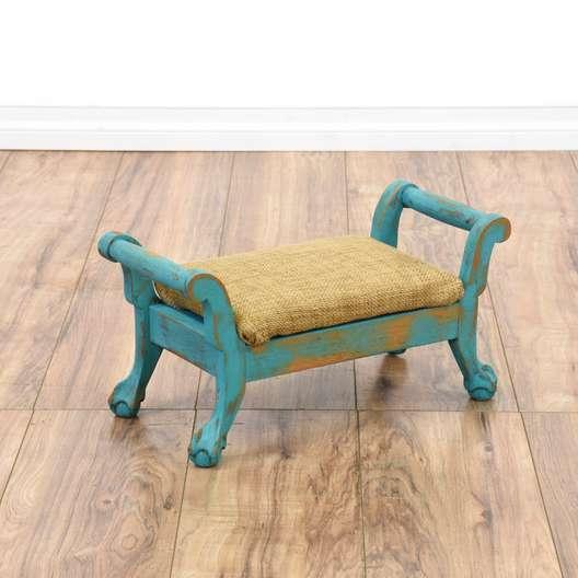 Blue Shabby Chic Footstool Ottoman