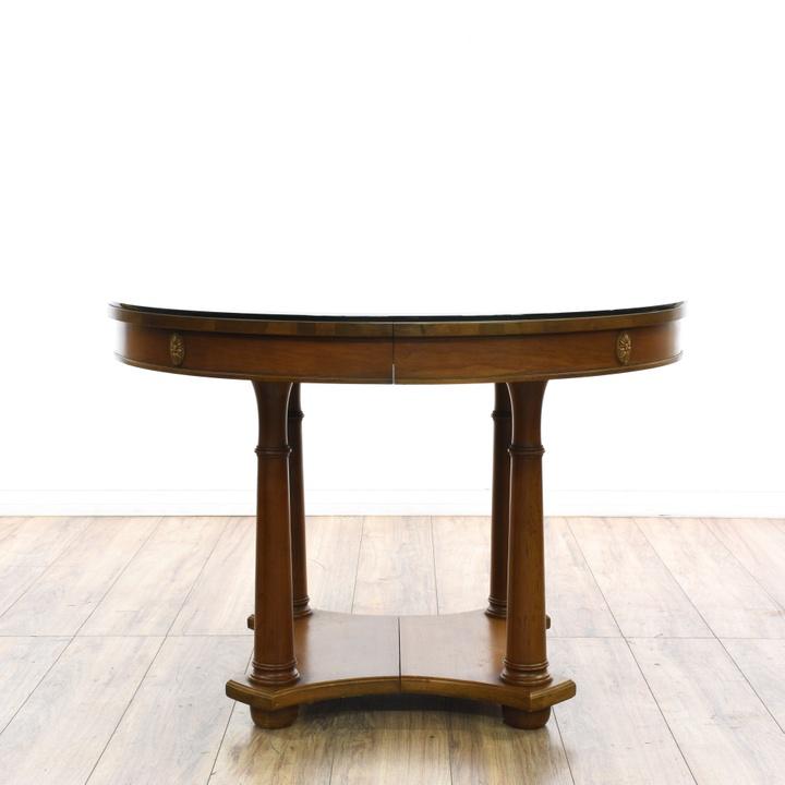 Black pedestal base dining table w leaf loveseat for Black round dining table with leaf