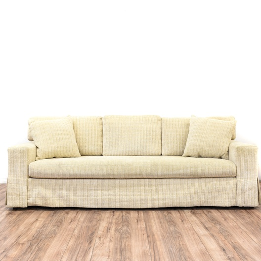 Contemporary Beige Textured Sofa Loveseat Vintage
