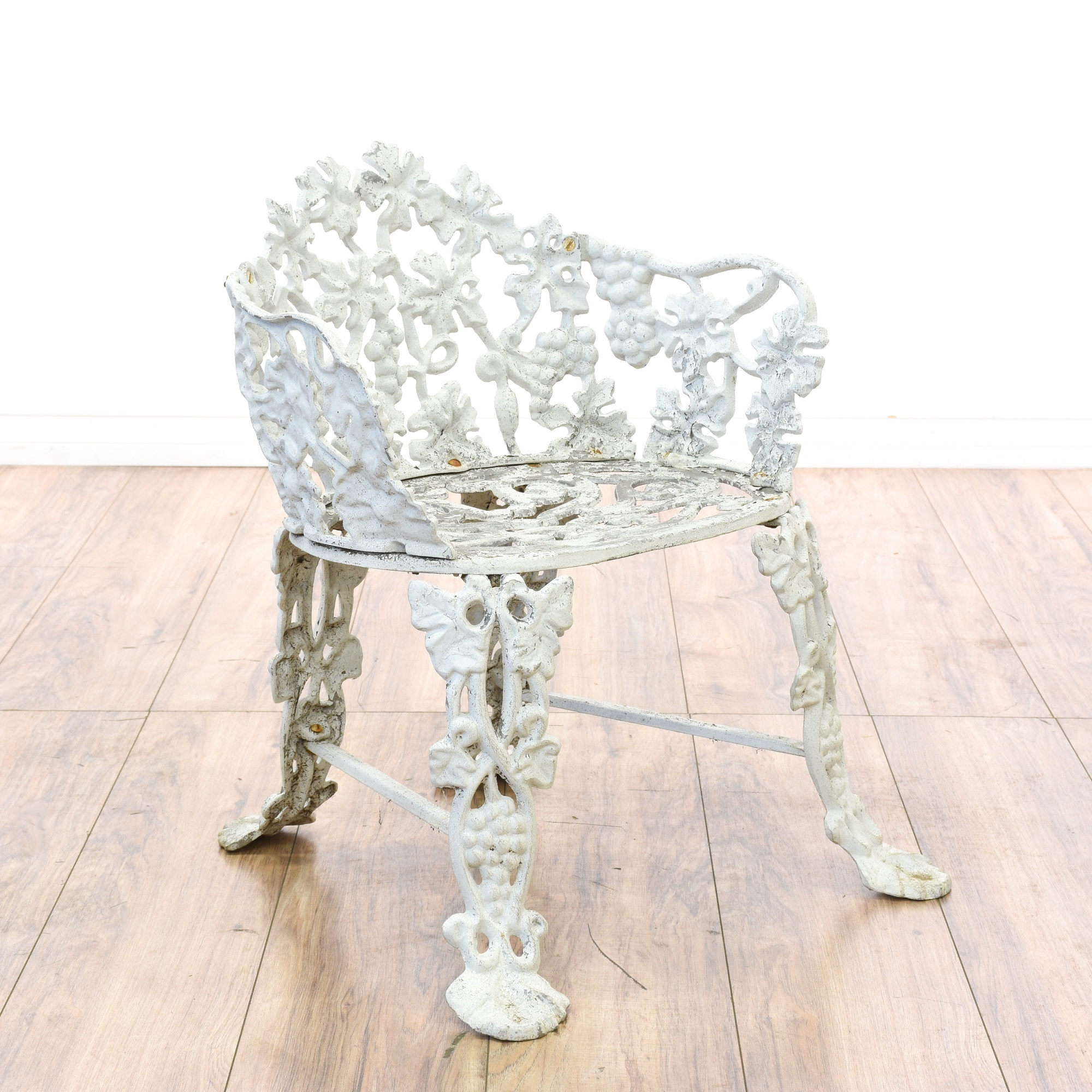 White Wrought Iron Floral Patio Chair & Table