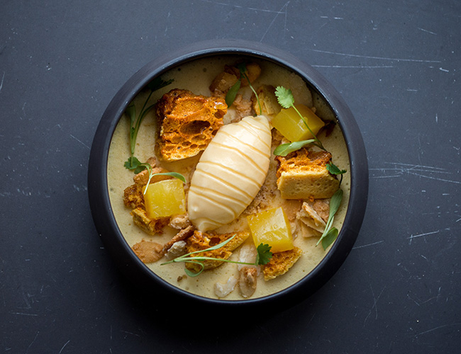 Felin honey and orange mousse with almond and buttermilk by Andy Tabberner at the Bull at Beaumaris