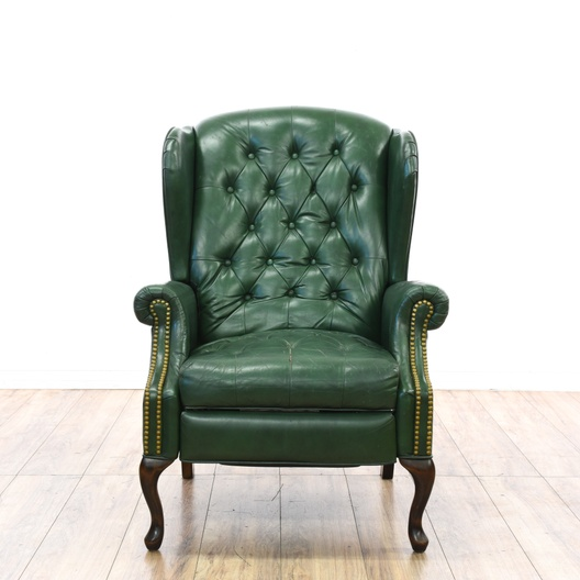 Green Faux Leather Wingback Recliner W Nailhead