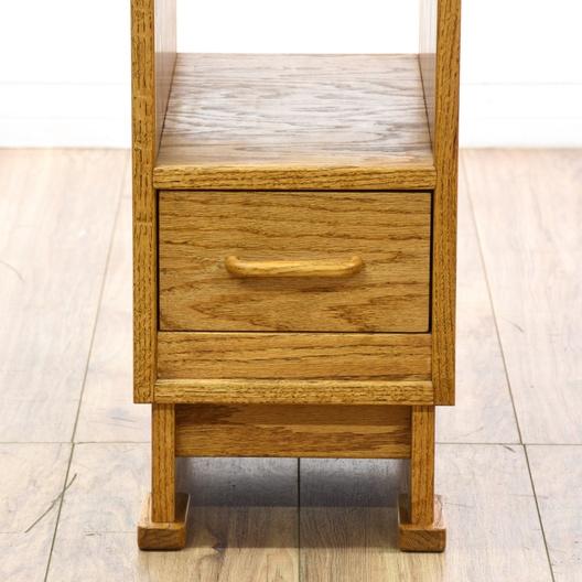 slim oak side table w drawer loveseat vintage furniture. Black Bedroom Furniture Sets. Home Design Ideas