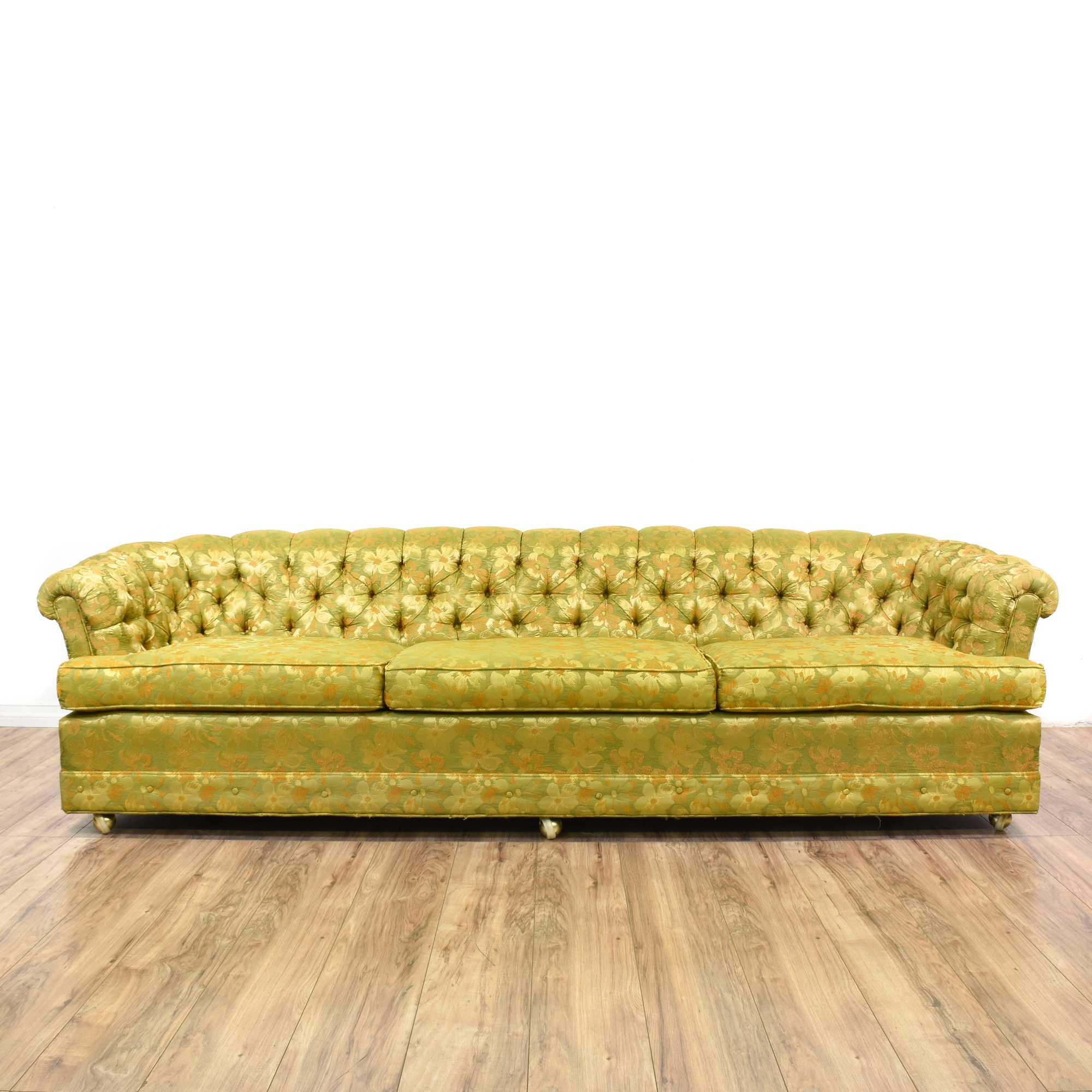 Yellow Green Floral Tufted Chesterfield Sofa