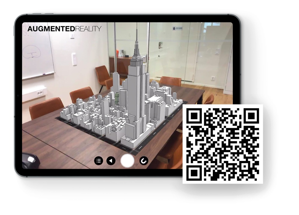 "See the wec360°-project ""1245 Broadway"" in Augmented Reality with the following instructions: 1. Scan the QR-code and download the AR-app 2. Scan the QR-code again, when promted inside the app 3. Project the model on a flat surface 4. Explore a big part of Manhattan right in front of you"