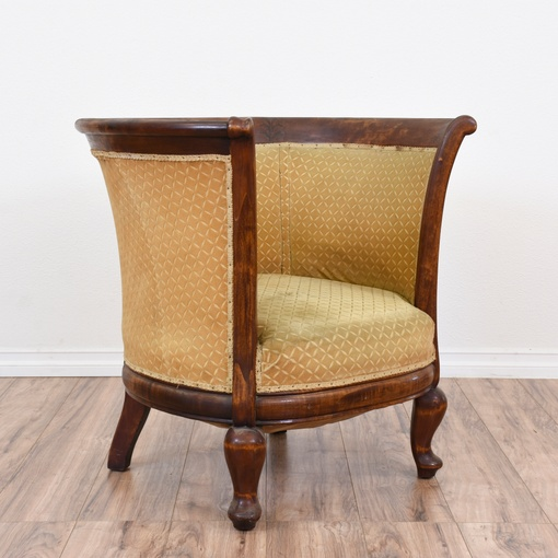Solid Wood Barrel Armchair W Gold Upholstery Loveseat